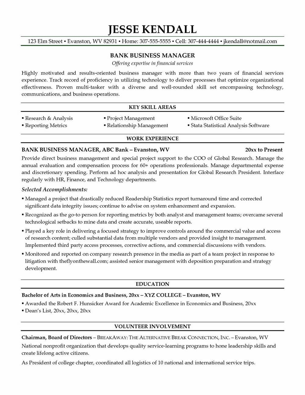 Senior Operations Manager Resume Template