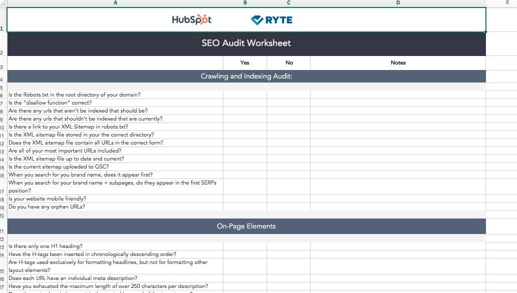 Seo Audit Template Free