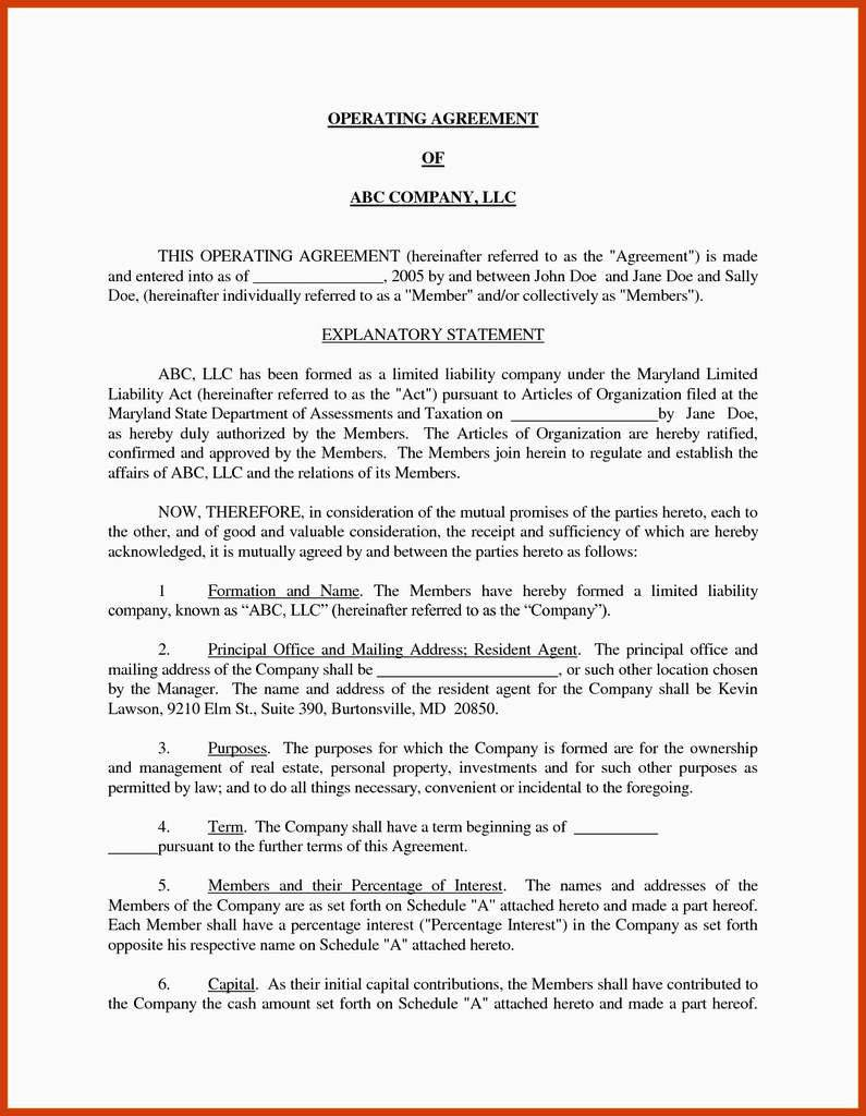 Separation Agreement Maryland Template