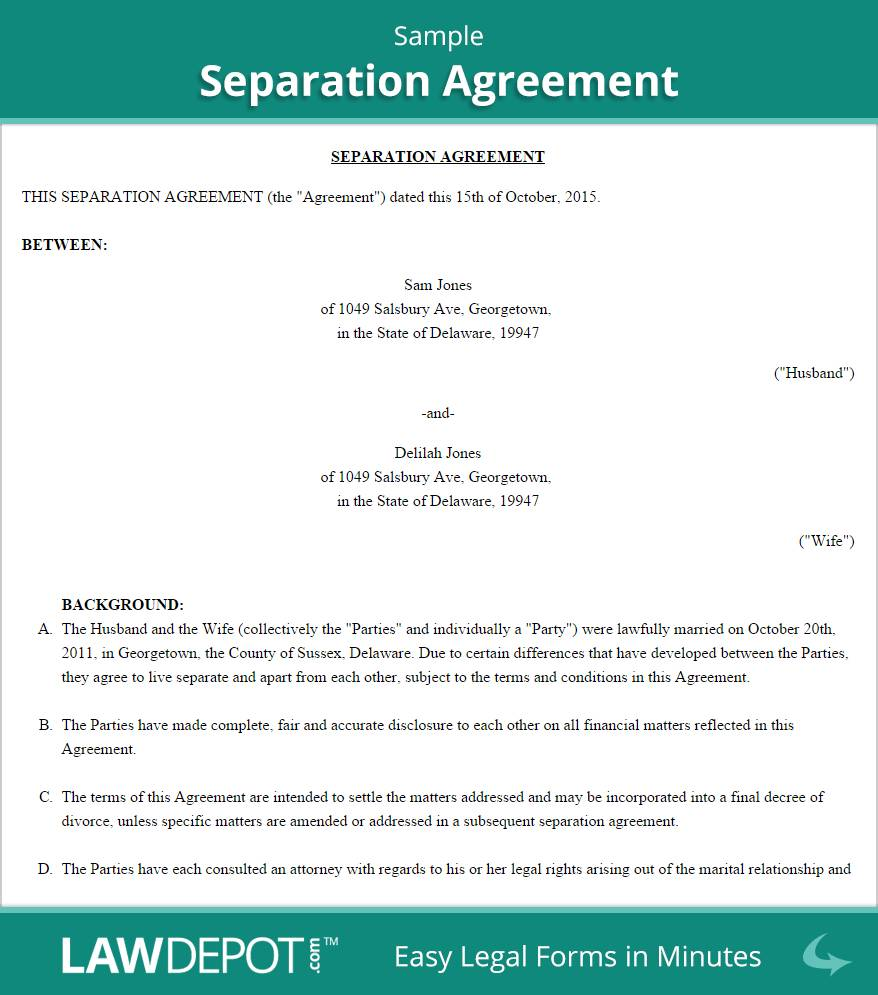 Separation Agreement Template Free
