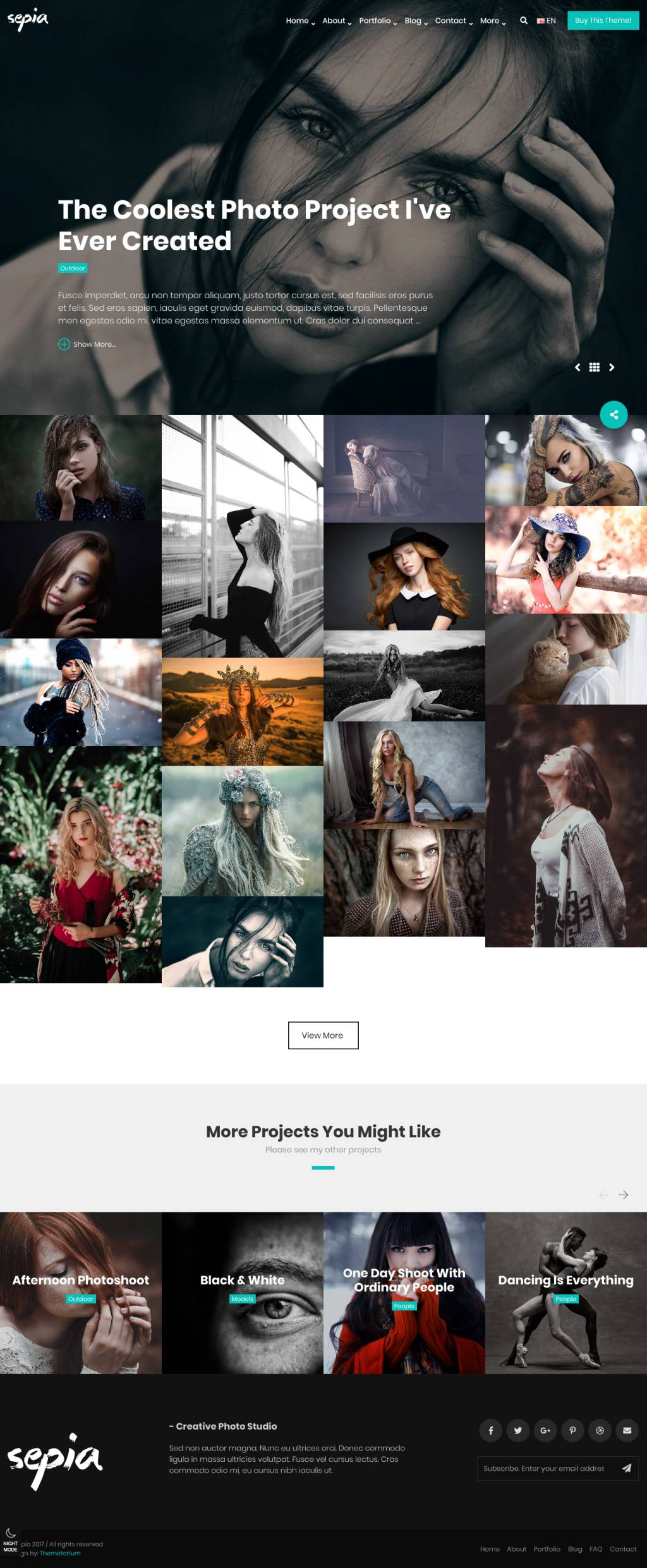 Sepia Photography Portfolio Html Website Template