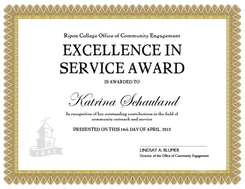 Service Award Certificate Templates Free