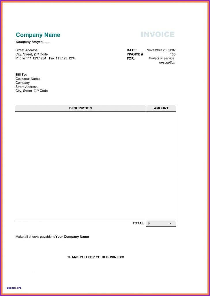 Service Invoice Template Excel Download Free