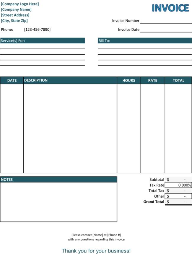 Service Invoice Template Word Free