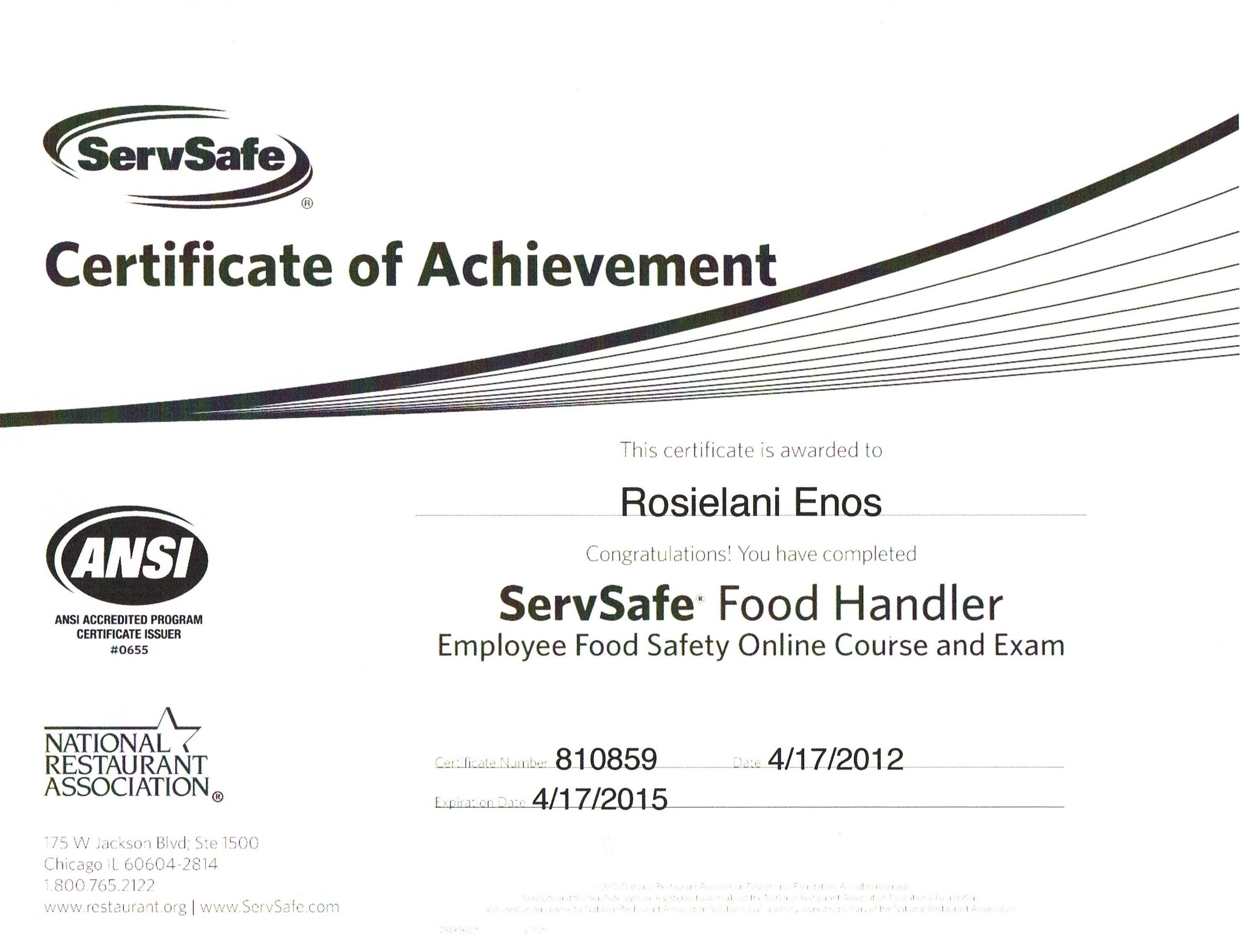 Servsafe Certificate Template