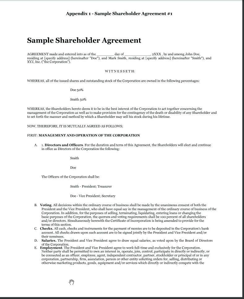 Shareholder Agreement Template Australia Free