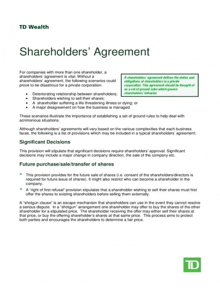 Shareholder Agreement Template Ontario
