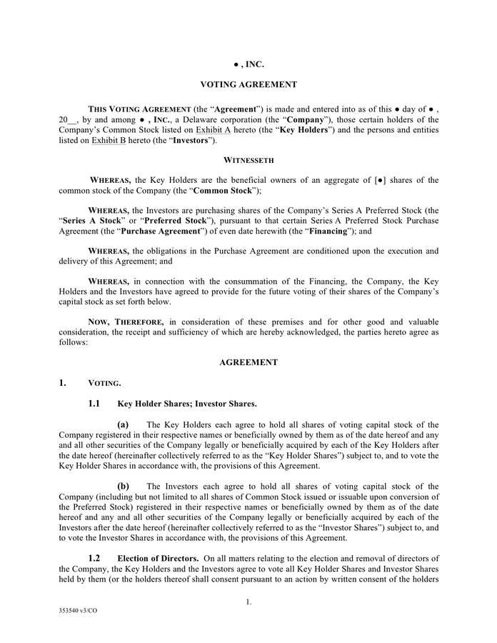 Shareholder Agreement Template Pdf
