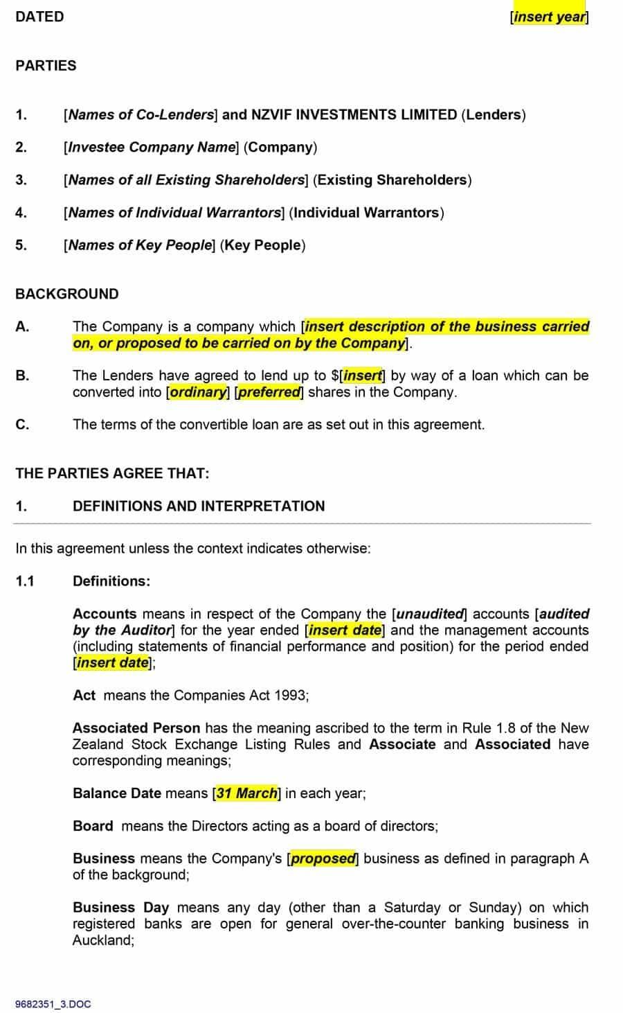 Shareholder Loan Agreement Template Hk