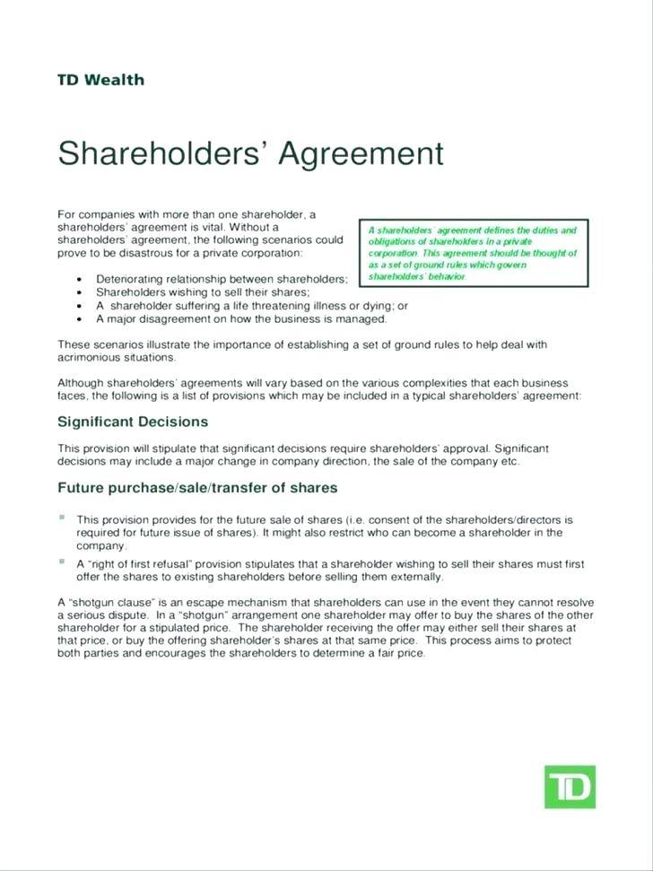Shareholders Agreement Template India