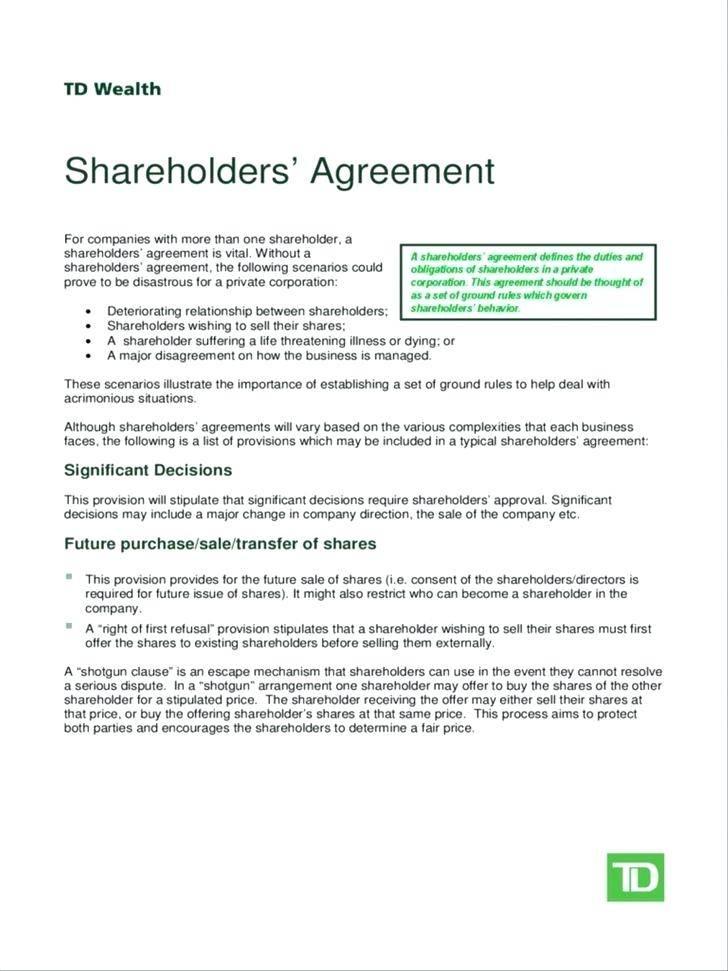 Shareholders Agreement Template Scotland