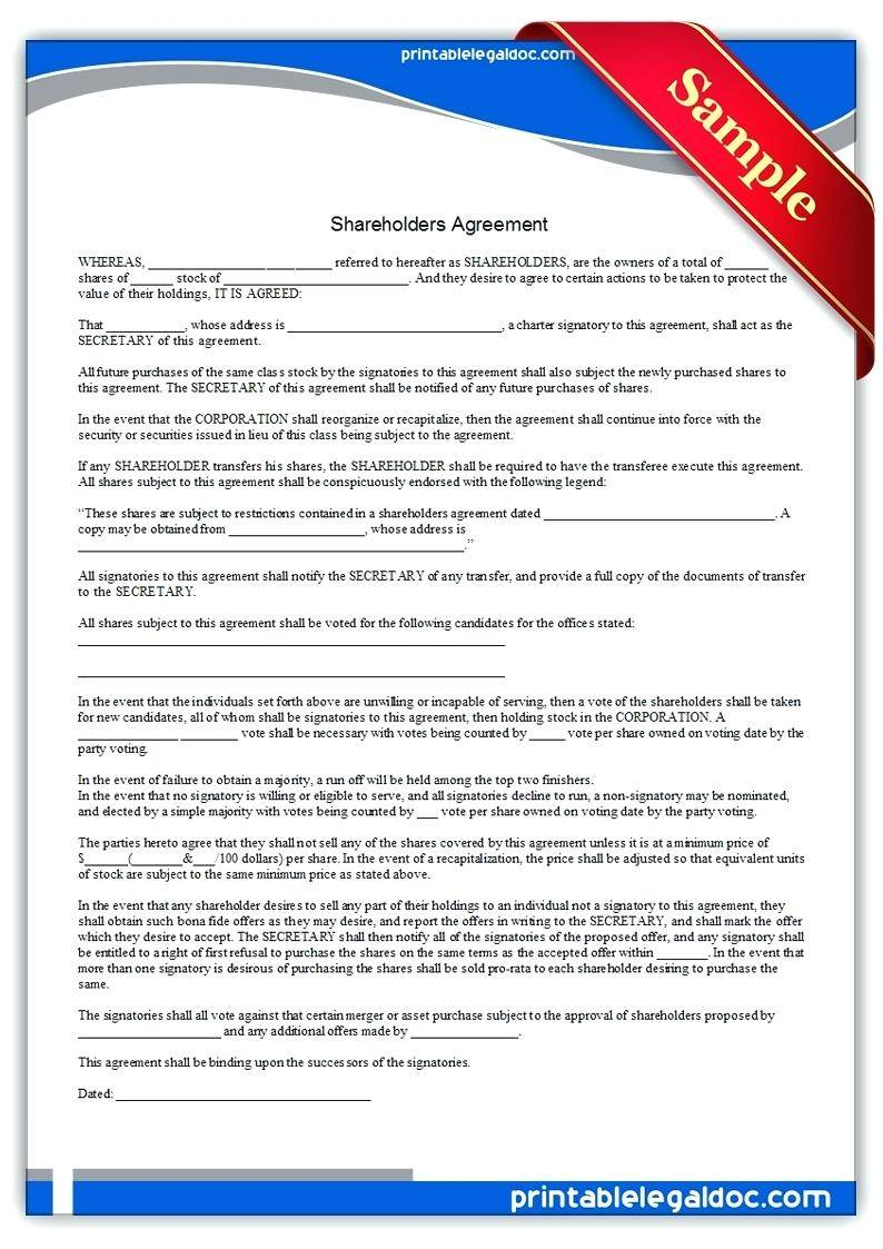 Shareholders Agreement Template Singapore