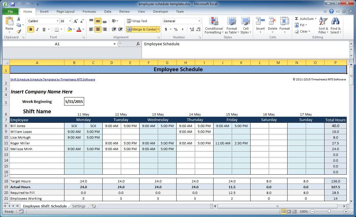 Shift Schedule Format