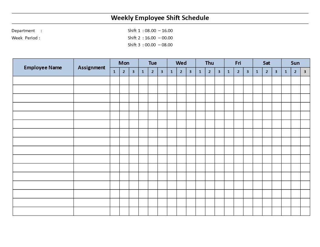 Shift Schedule Templates
