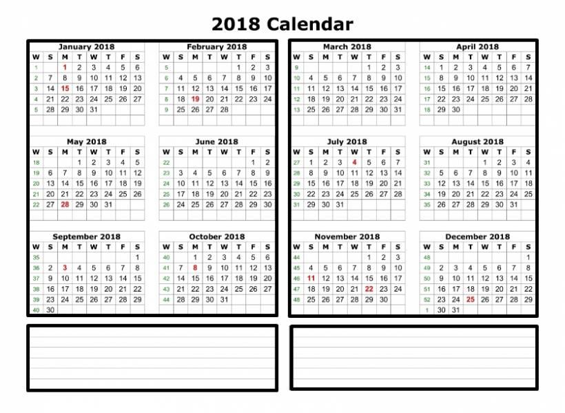 Shift Work Calendar Template 2018