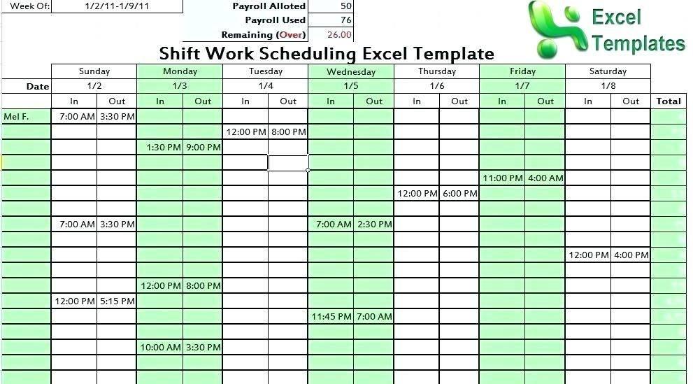 Shift Work Schedule Template