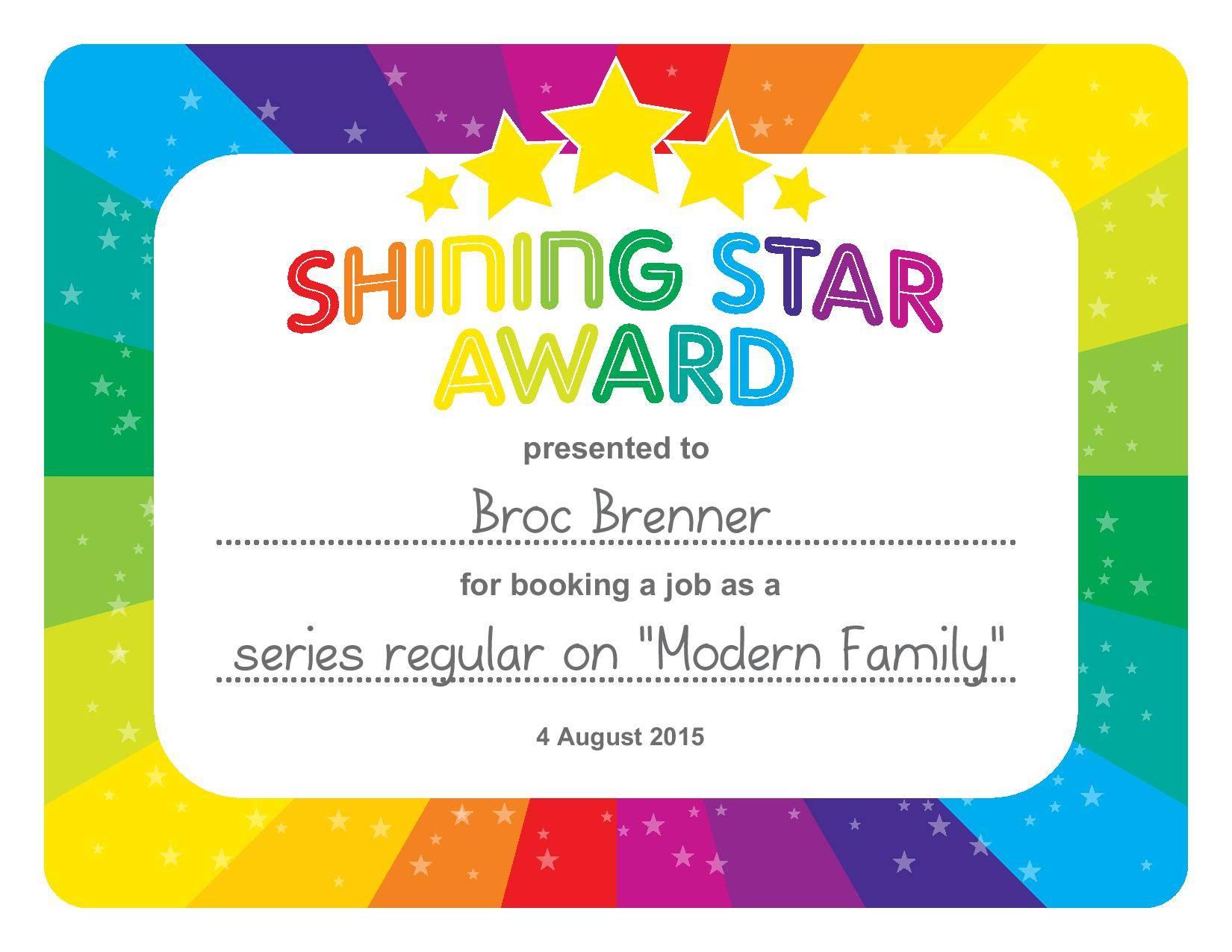 Shining Star Award Certificate Template