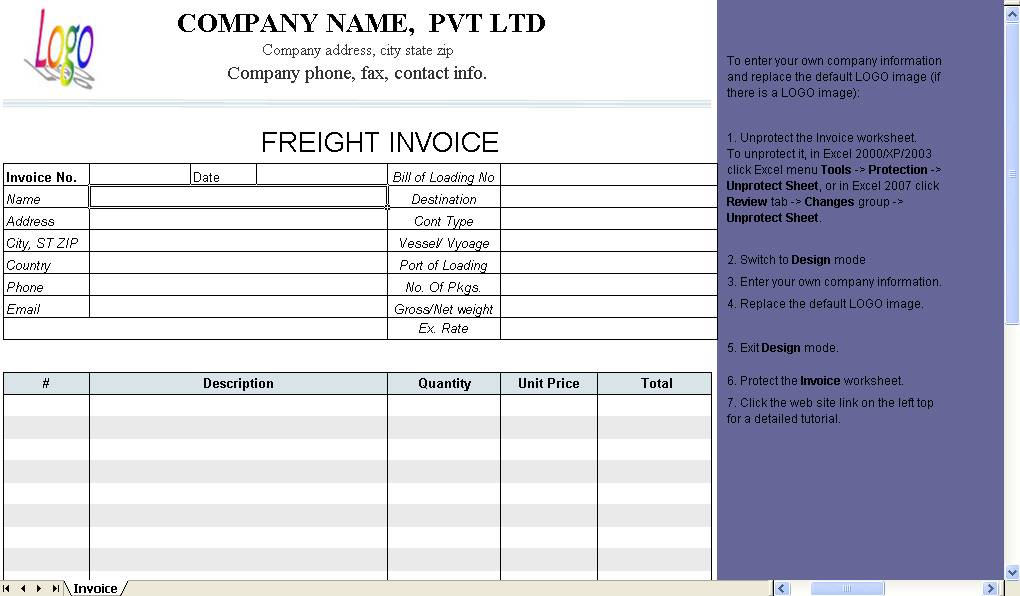 Shipping Freight Invoice Templates