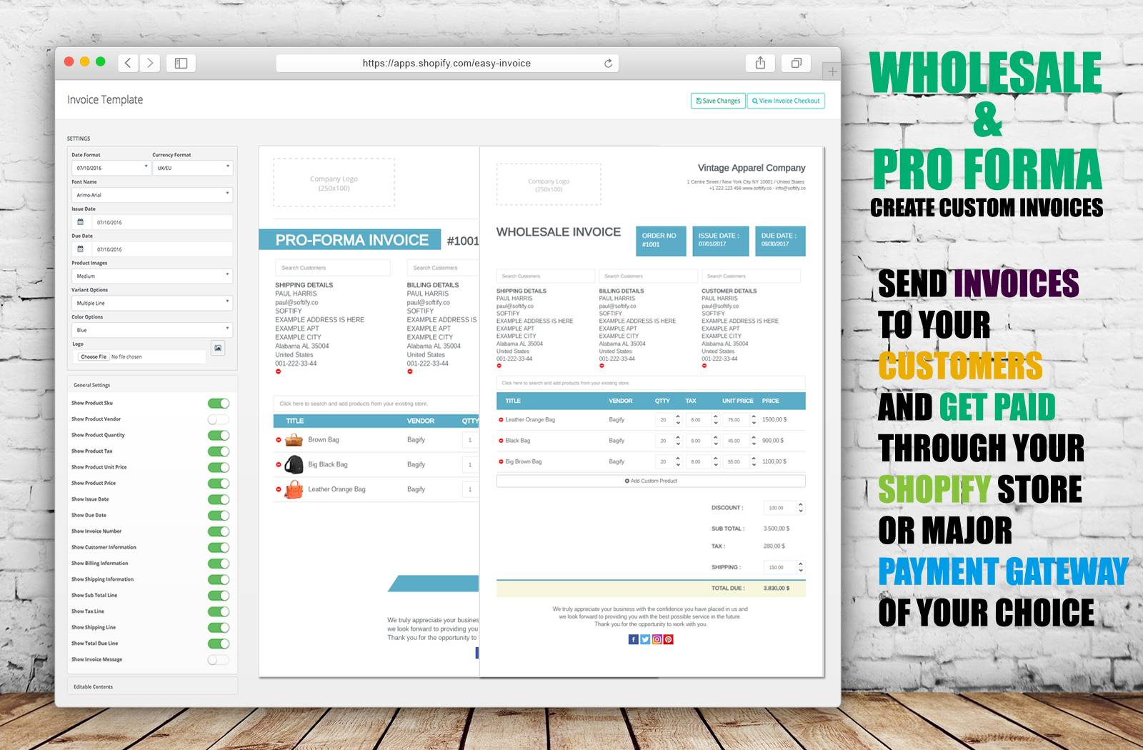 Shopify Edit Invoice Template