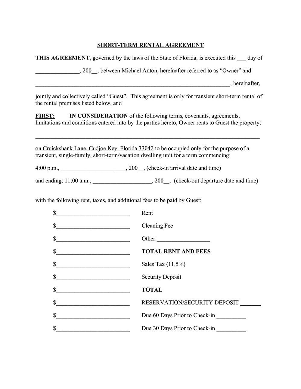 Short Term Lease Agreement Form