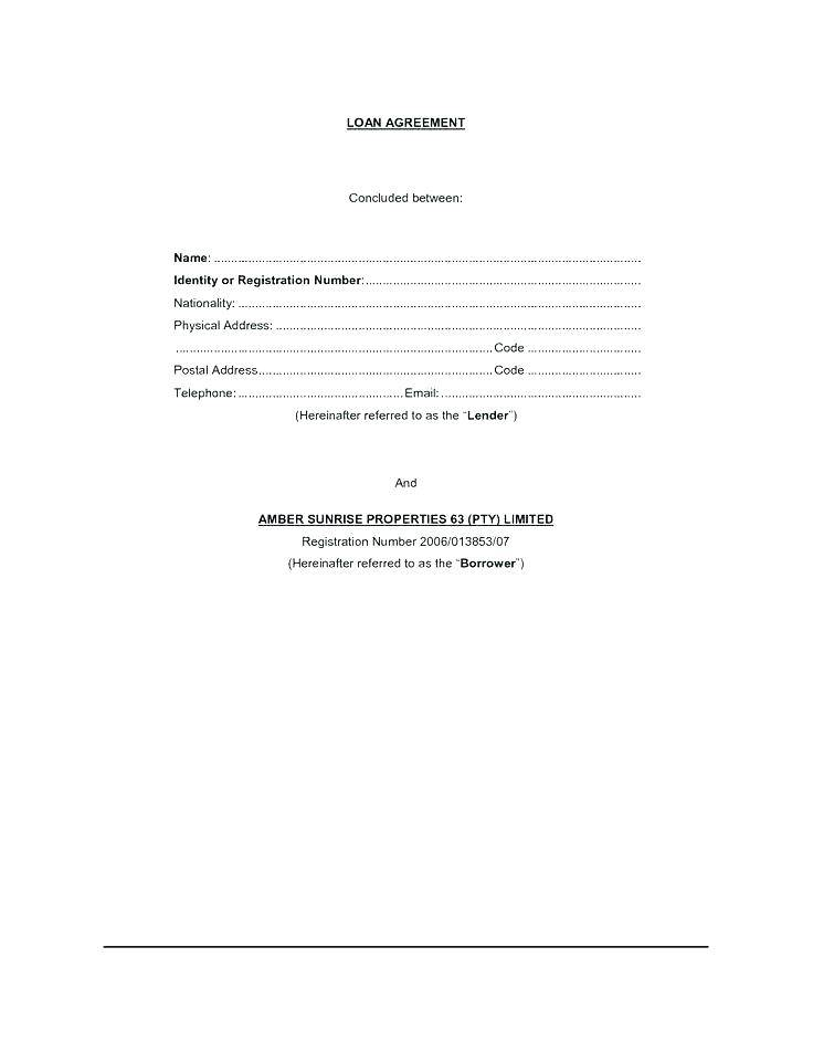 Short Term Loan Agreement Form
