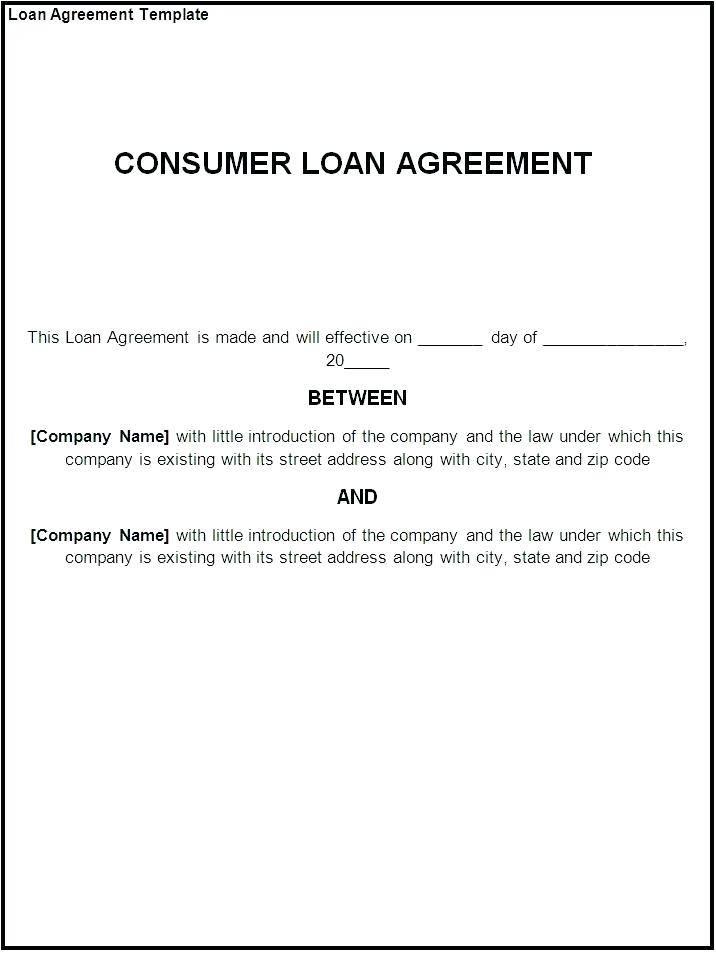 Short Term Loan Form Template