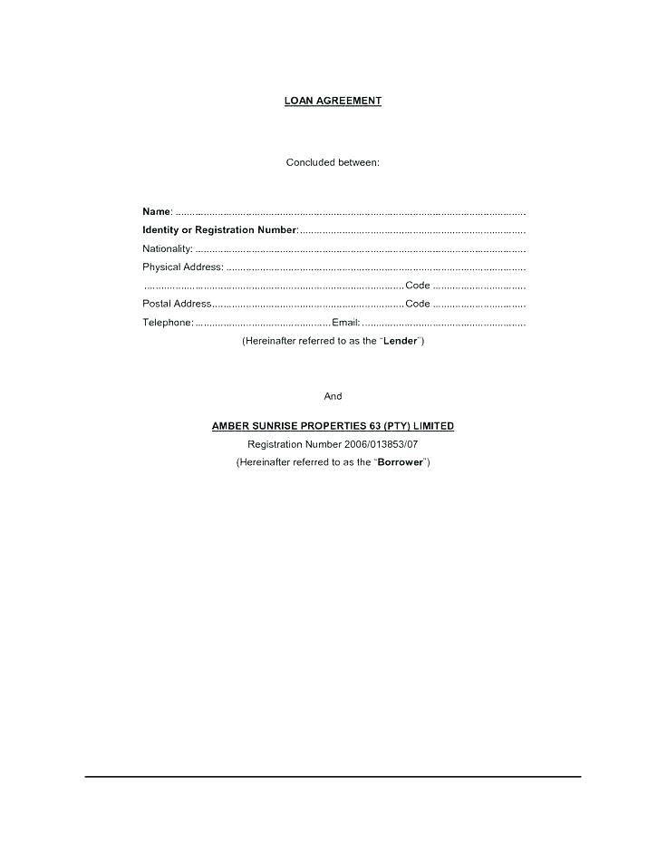 Short Term Loan Template