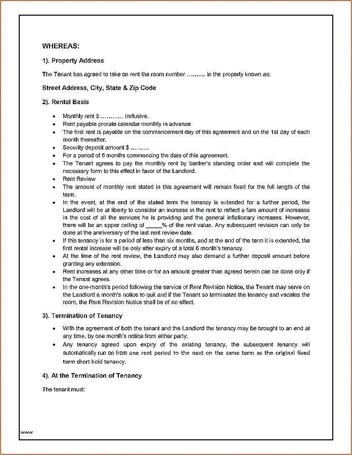 Short Term Rental Agreement Template Nz