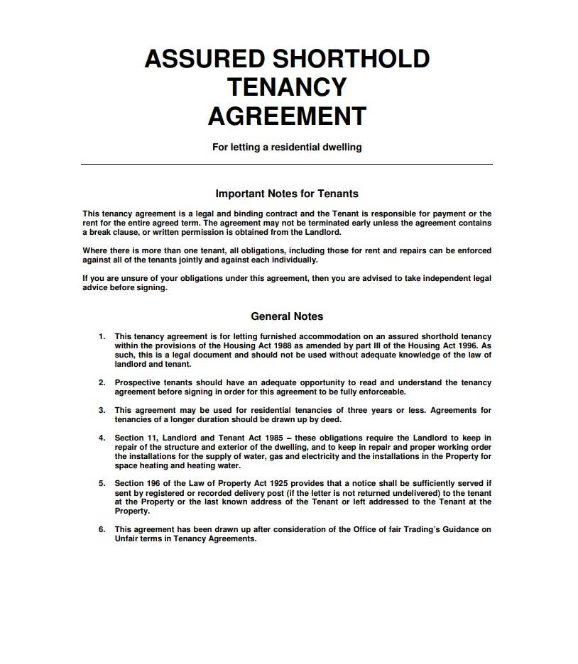 Shorthold Tenancy Agreement Form Pdf