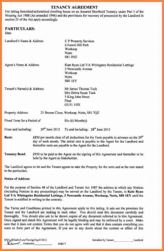 Shorthold Tenancy Agreement Template Free Download