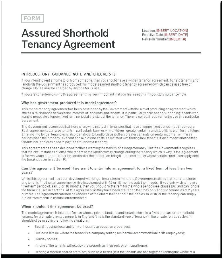 Shorthold Tenancy Agreement Template Nla