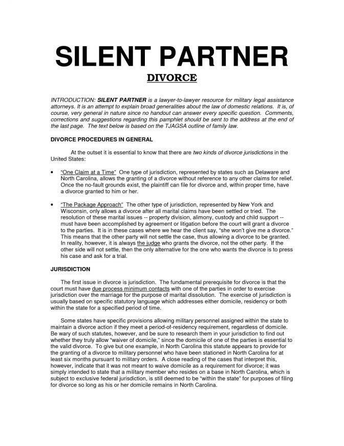 Silent Partner Agreement Template