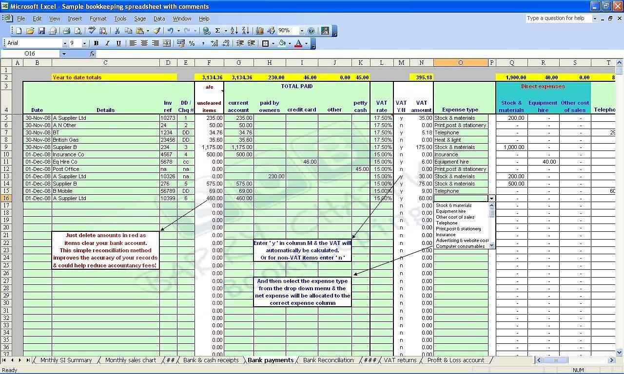 Simple Bookkeeping Spreadsheet Template Excel