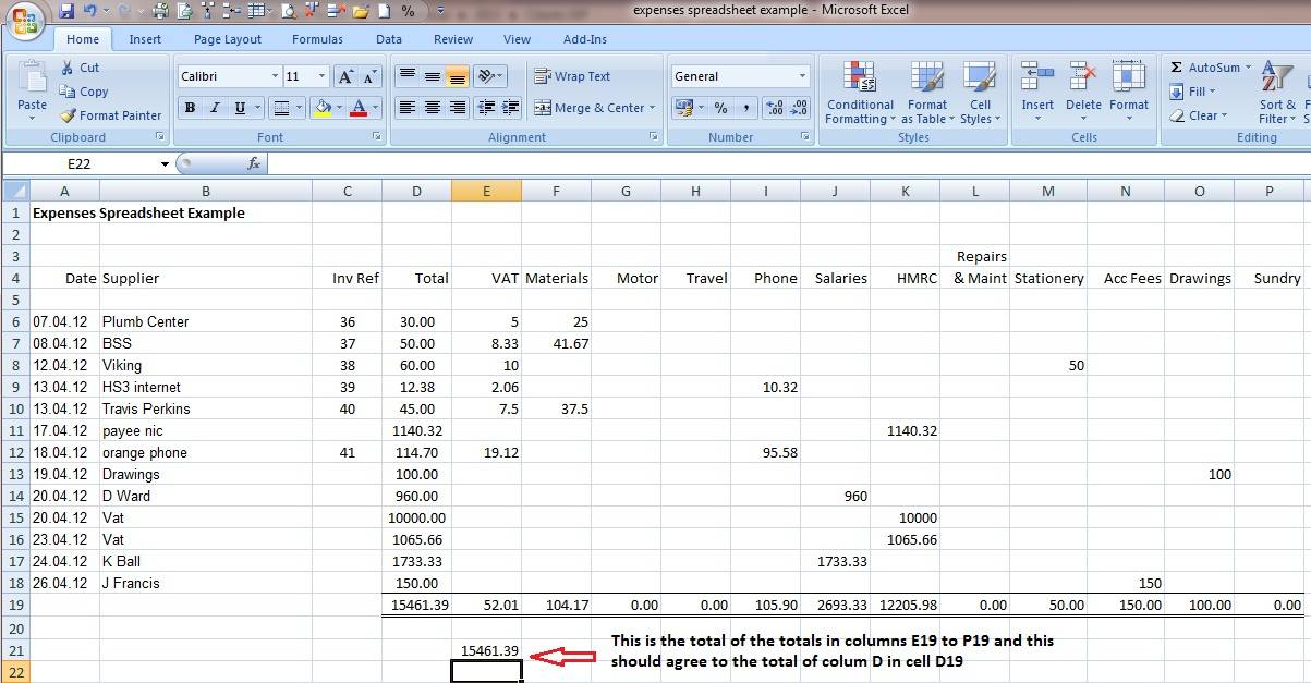 Simple Bookkeeping Spreadsheet Template