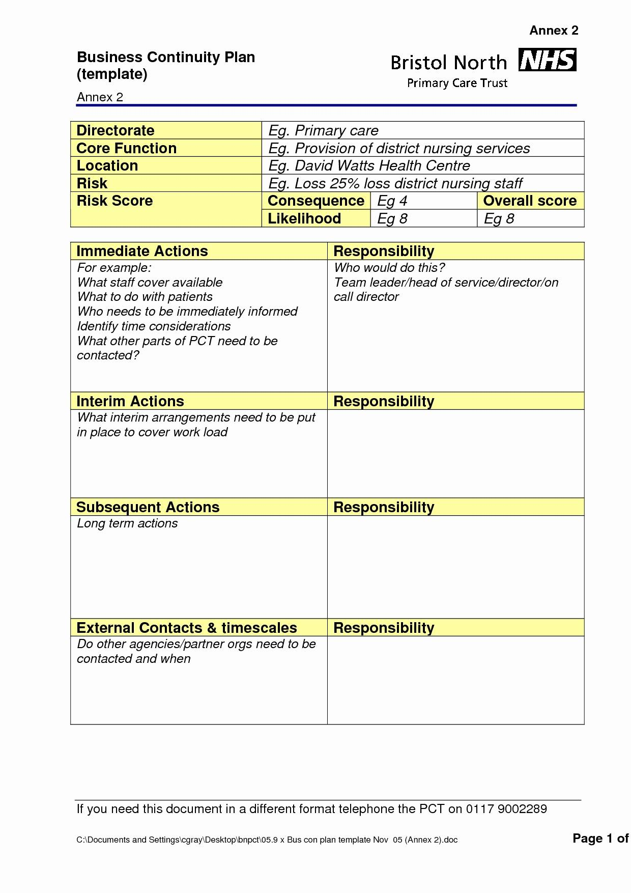 Simple Business Continuity Plan Template Uk