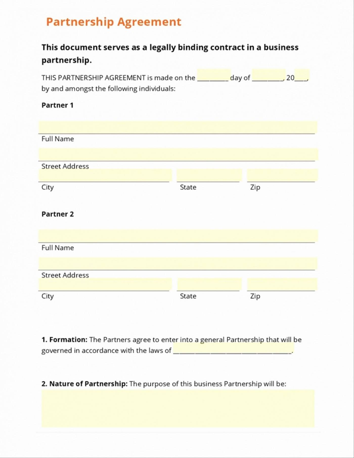 Simple Business Partnership Agreement Template