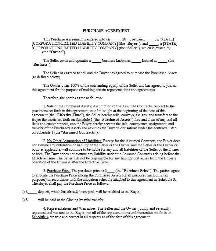 Simple Business Purchase Agreement Template