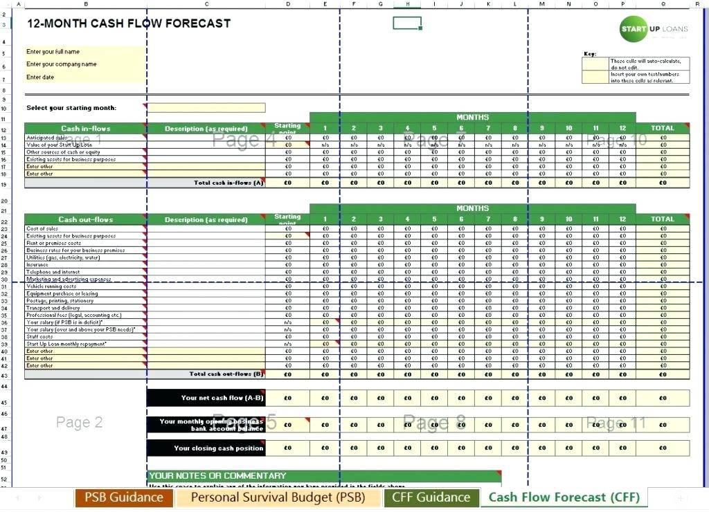 Simple Cash Flow Spreadsheet Template
