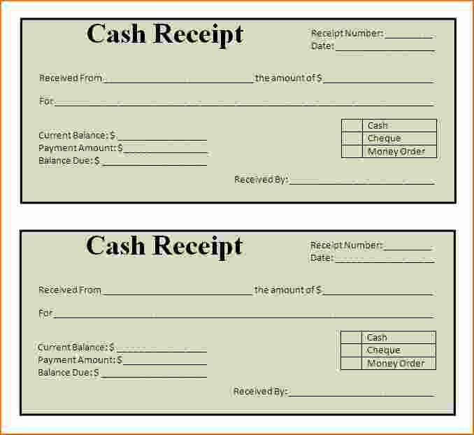 Simple Cash Receipt Template Free