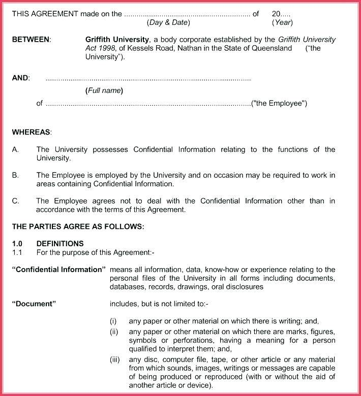 Simple Confidentiality Agreement Template Free