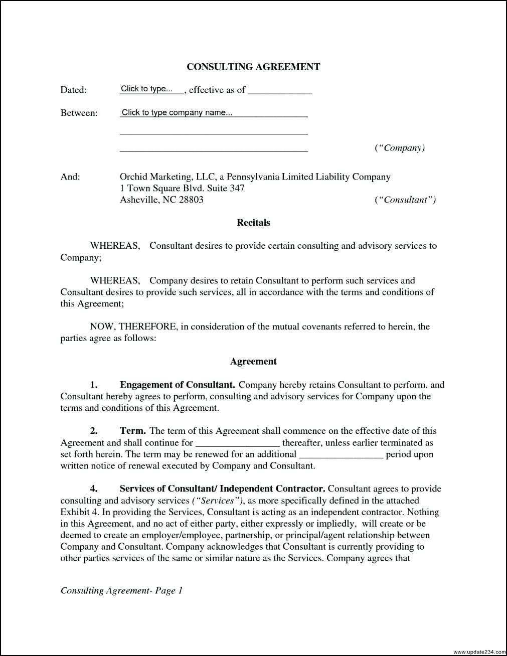 Simple Consultant Contract Template