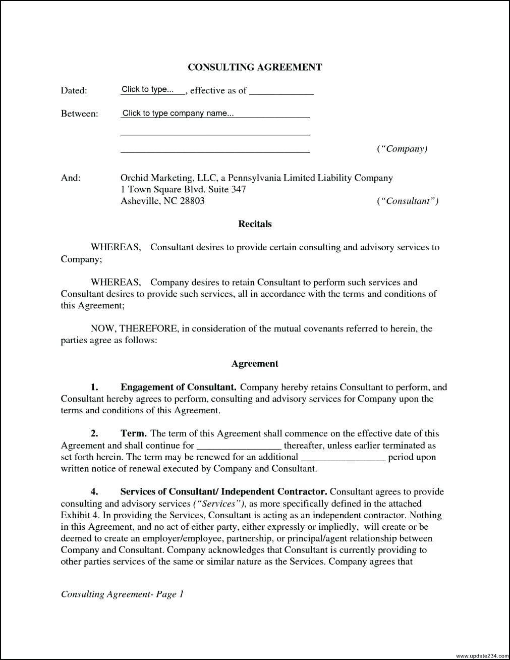 Simple Consulting Agreement Template