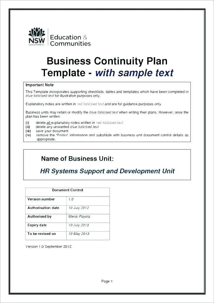 Simple Disaster Recovery Plan Template Free