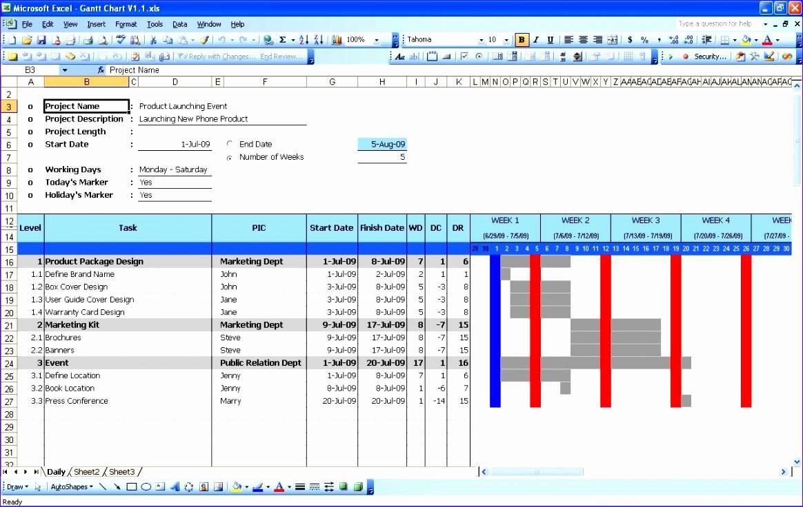Simple Gantt Chart Template Excel 2010