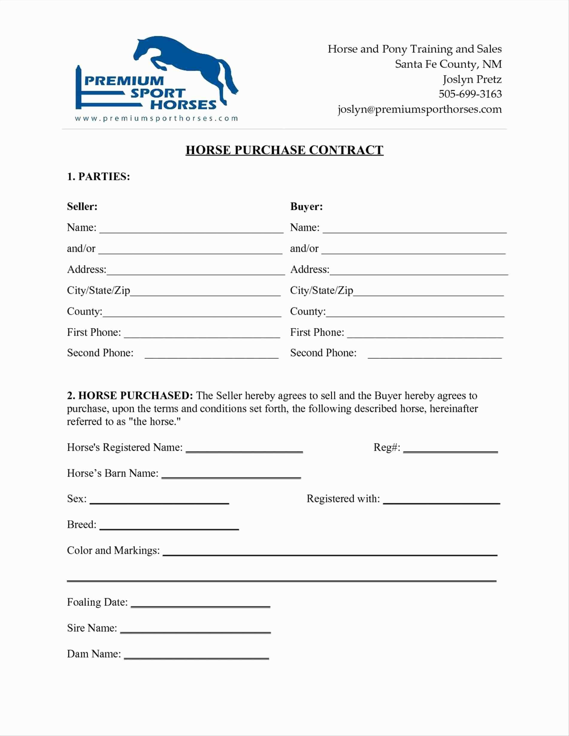Simple Horse Boarding Agreement Template