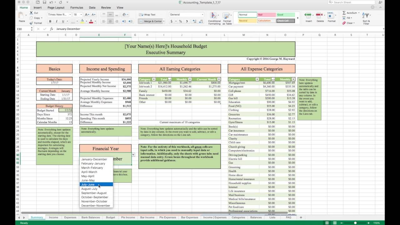 Simple Household Budget Spreadsheet Template