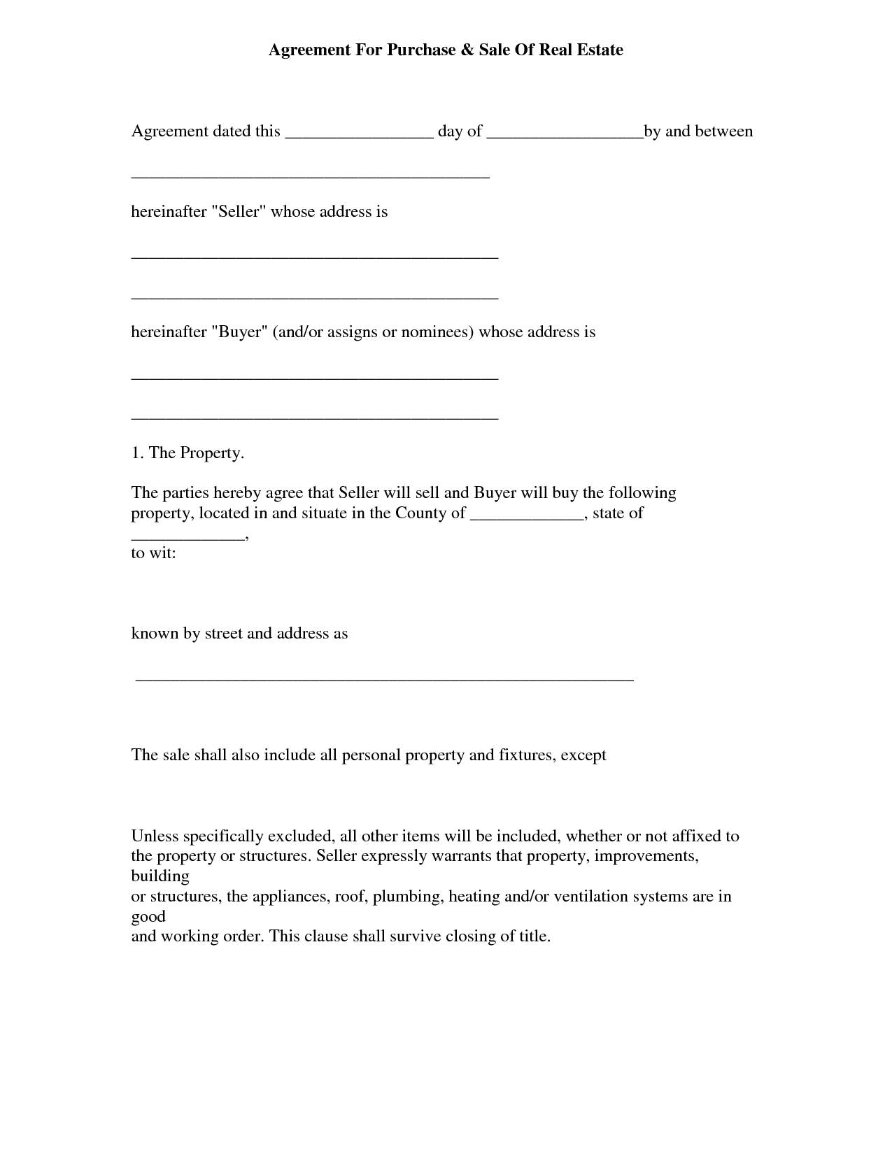 Simple Land Sale Agreement Template