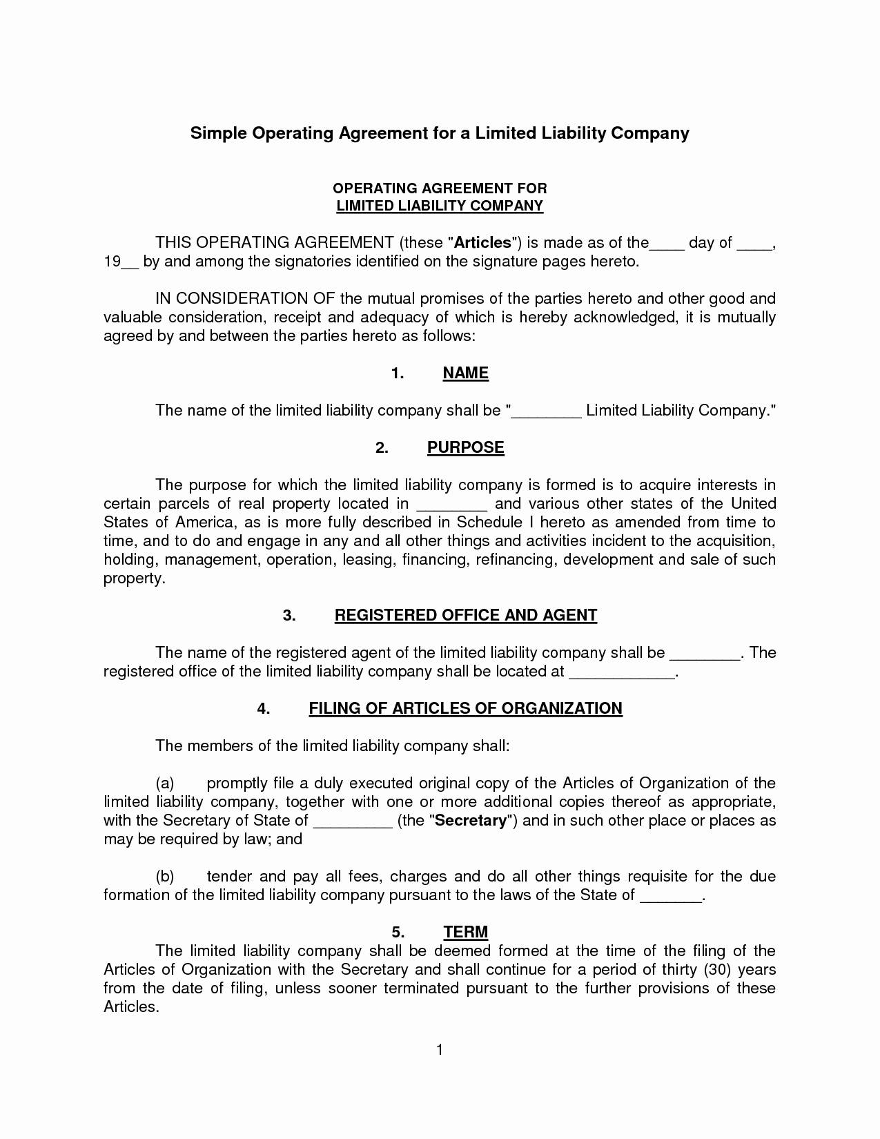 Simple Llc Operating Agreement Template Free