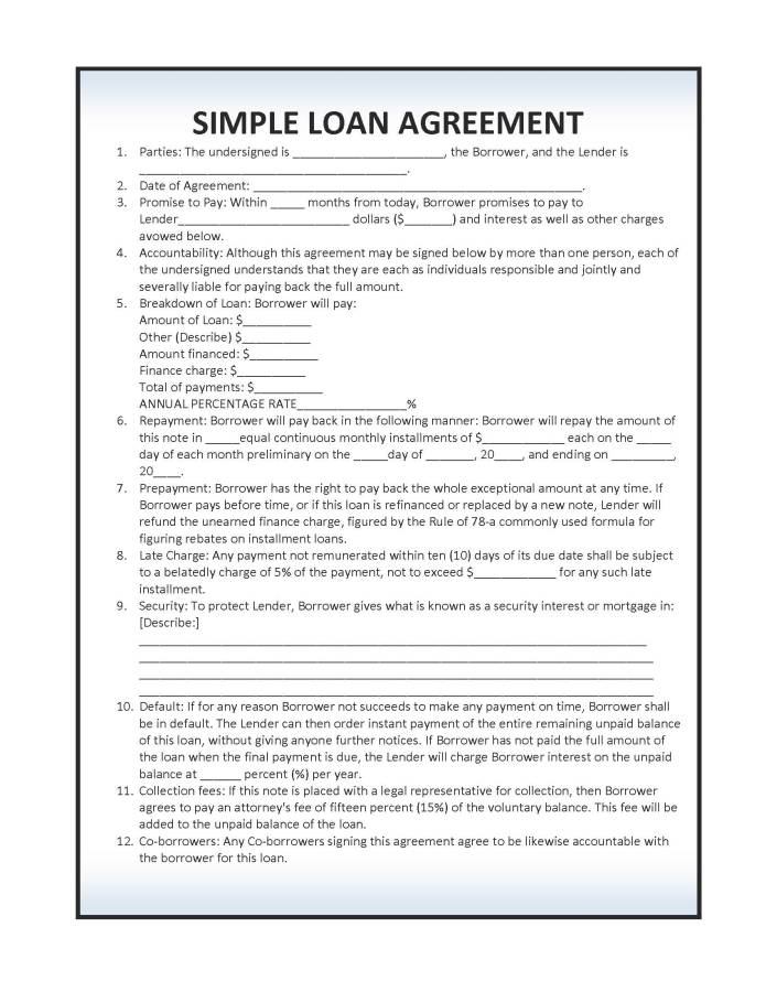 Simple Loan Agreement Forms