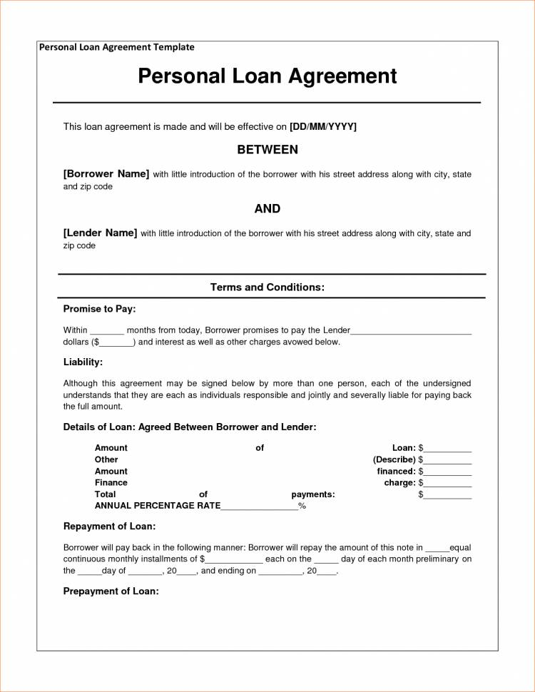 Simple Loan Agreement Template Nz